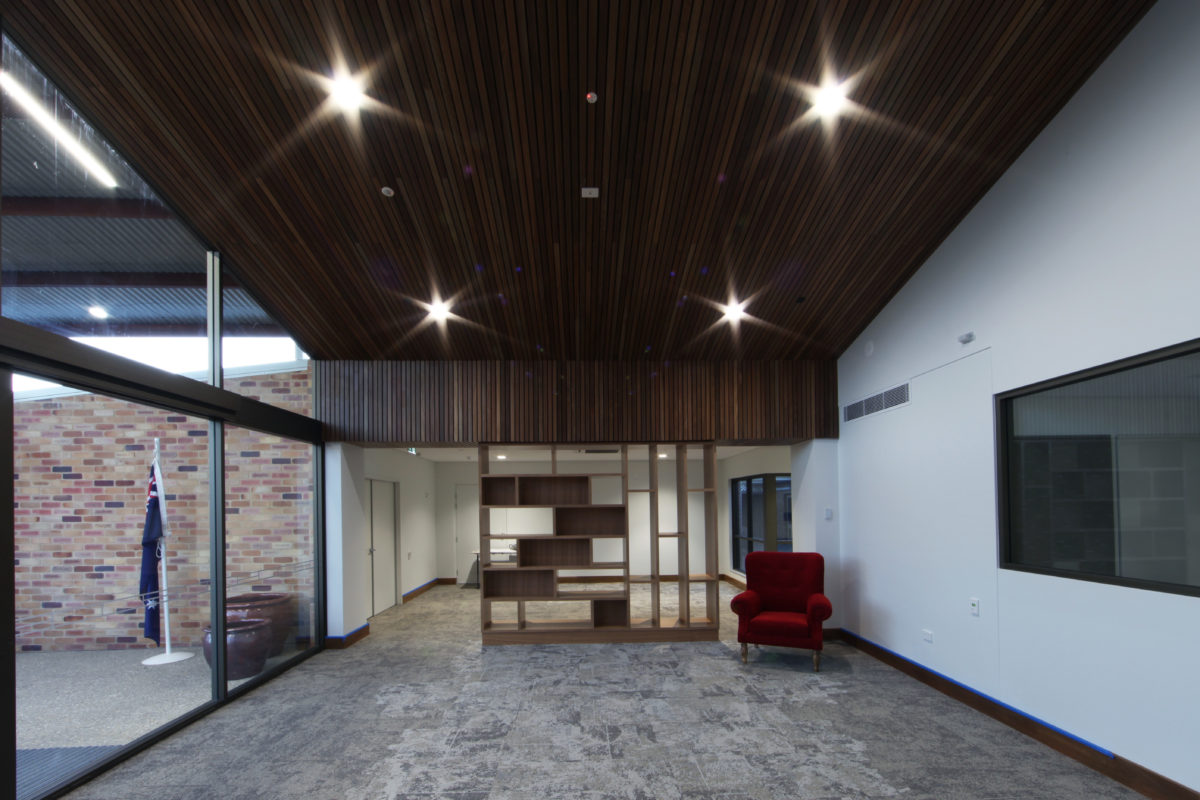 reception room with glass walls