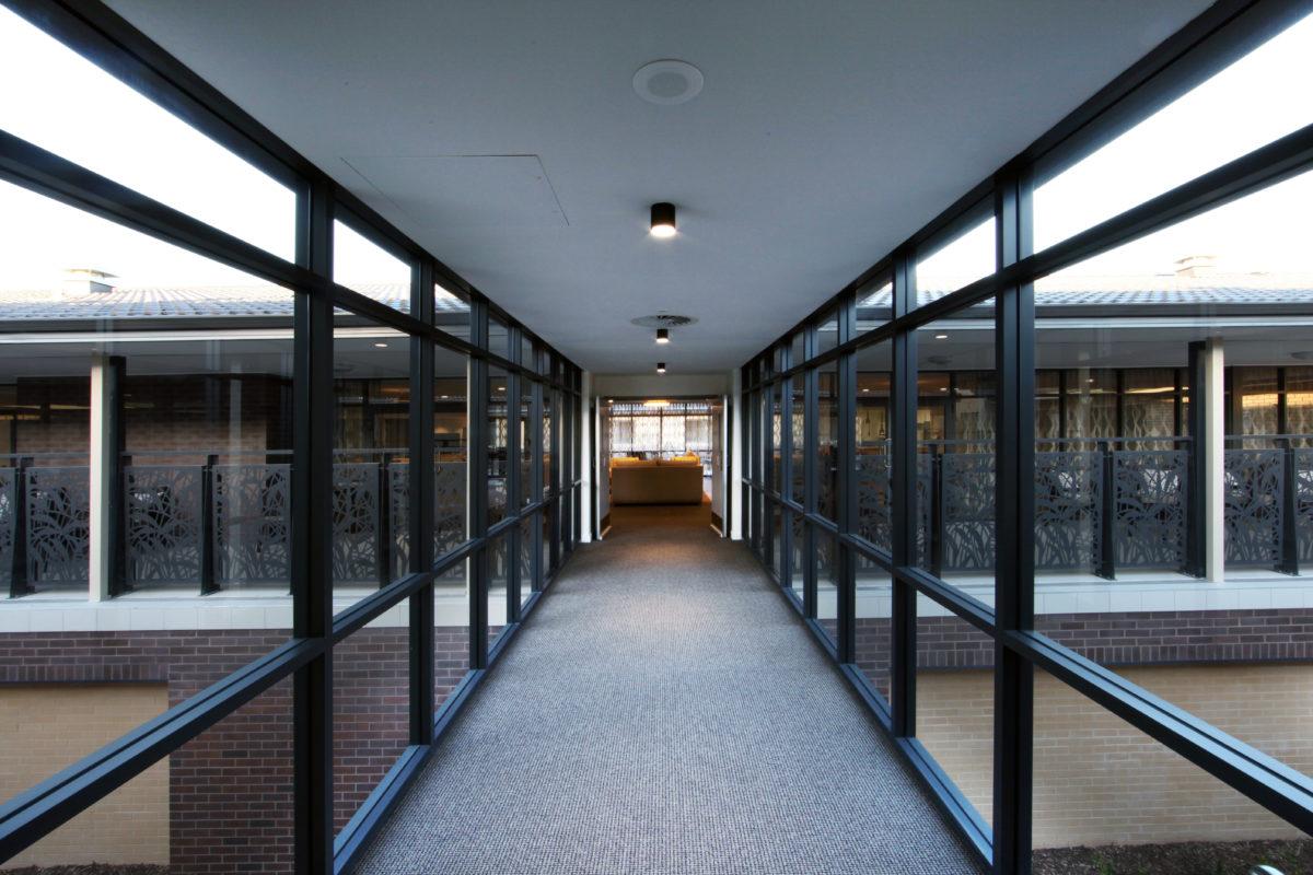 walkway between buildings