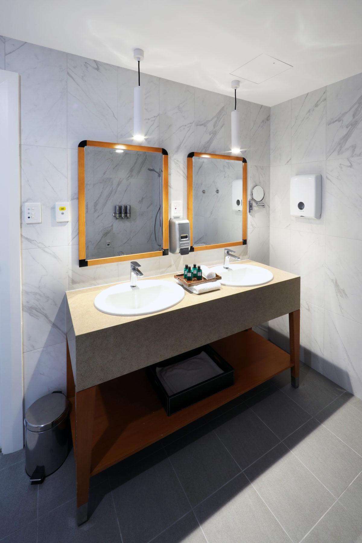 hotel bathroom with double sinks