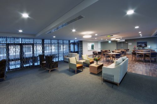 office dining and lounge area
